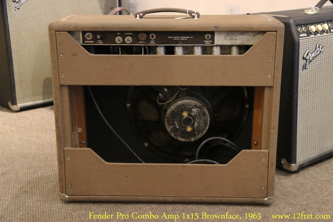 Fender Pro Combo Amp 1x15 Brownface, 1963 Full Rear View