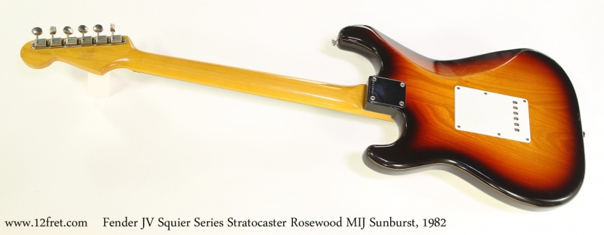 Fender JV Squier Series Stratocaster Rosewood MIJ Sunburst, 1982  Full Rear View