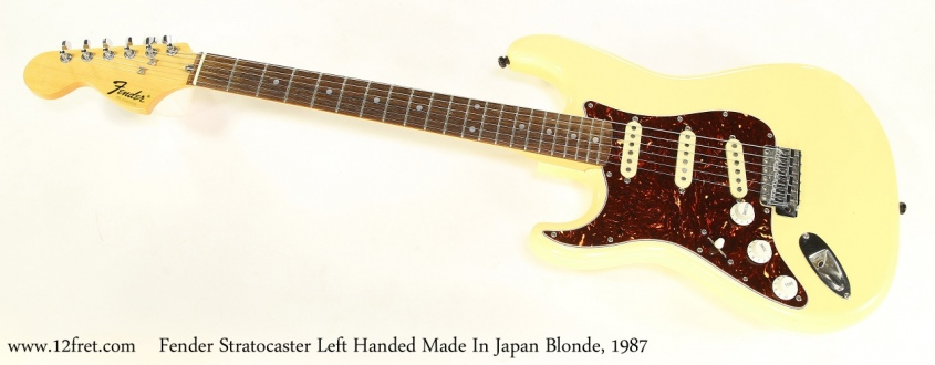 Fender Stratocaster Left Handed Made In Japan Blonde, 1987   Full Front View