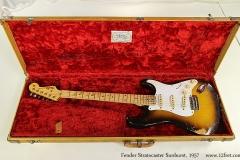 Fender Stratocaster Sunburst, 1957 Case Open with Guitar