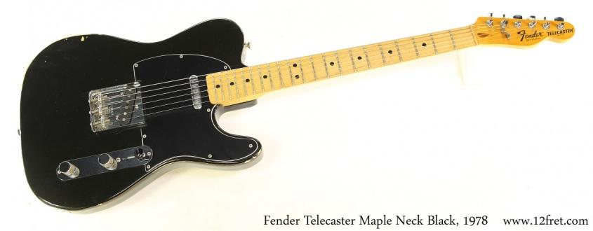 Fender Telecaster Maple Neck Black, 1978 Full Front View