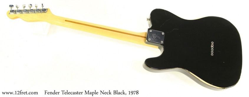 Fender Telecaster Maple Neck Black, 1978 Full Rear View