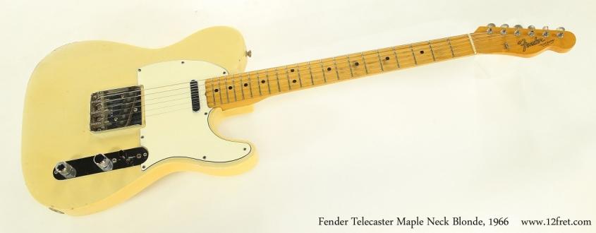 Fender Telecaster Maple Neck Blonde, 1966  Full Front VIew