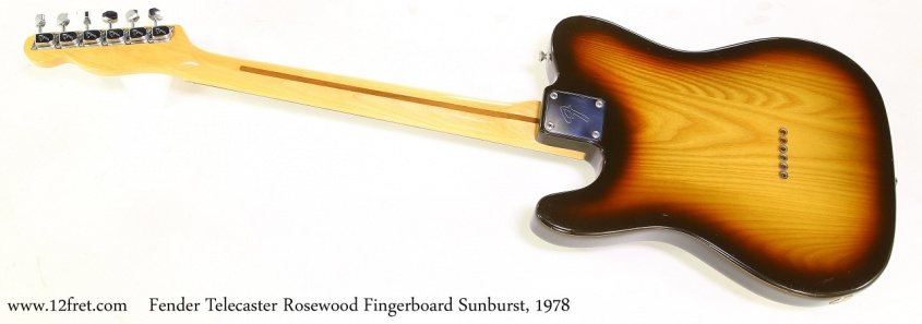 Fender Telecaster Rosewood Fingerboard Sunburst, 1978  Full Rear View