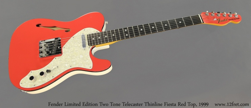 Fender Limited Edition Two Tone Telecaster Thinline Fiesta Red Top, 1999 Full Front View