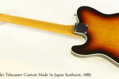 Fender Telecaster Custom Made In Japan Sunburst, 1985   Full Rear View
