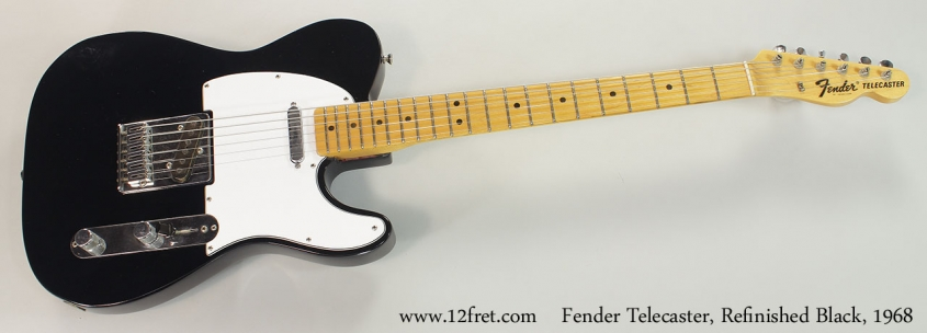Fender Telecaster, Refinished Black, 1968 Full Front View