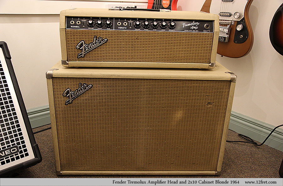 Fender Tremolux Amplifier Head and 2x10 Cabinet Blonde 1964   Full Front View