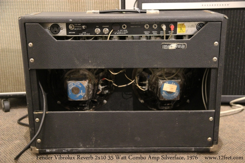 Fender Vibrolux Reverb Combo Amp Silverface, 1976   Full Rear View