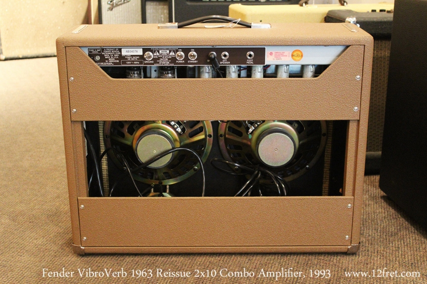 Fender VibroVerb 1963 Reissue 2x10 Combo Amplifier, 1993 Full Rear View