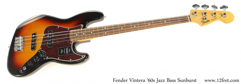 Fender Vintera '60s Jazz Bass Sunburst Full Front View