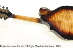 Fintan McEnroe Fin MC9 F-Style Mandolin Sunburst, 2020 Full Rear View