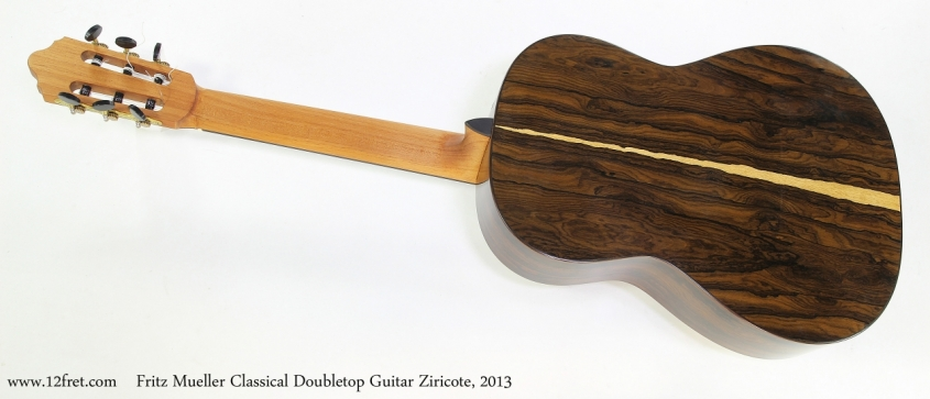 Fritz Mueller Classical Doubletop Guitar Ziricote, 2013  Full Rear View