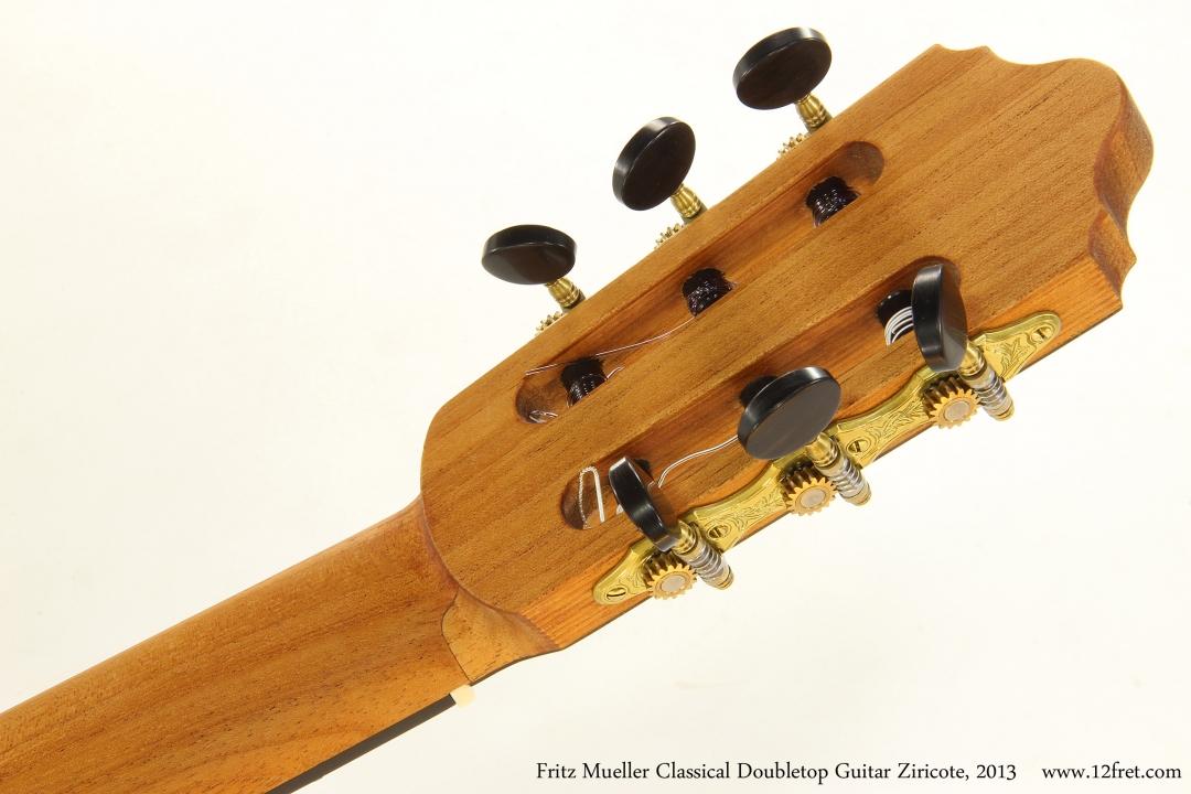Fritz Mueller Classical Doubletop Guitar Ziricote, 2013  Head Rear View