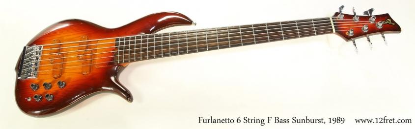 Furlanetto 6 String F Bass Sunburst, 1989   Full Rear VIew