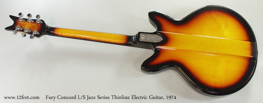 Fury Concord L/S Jazz Series Thinline Electric Guitar, 1974 Full Rear View