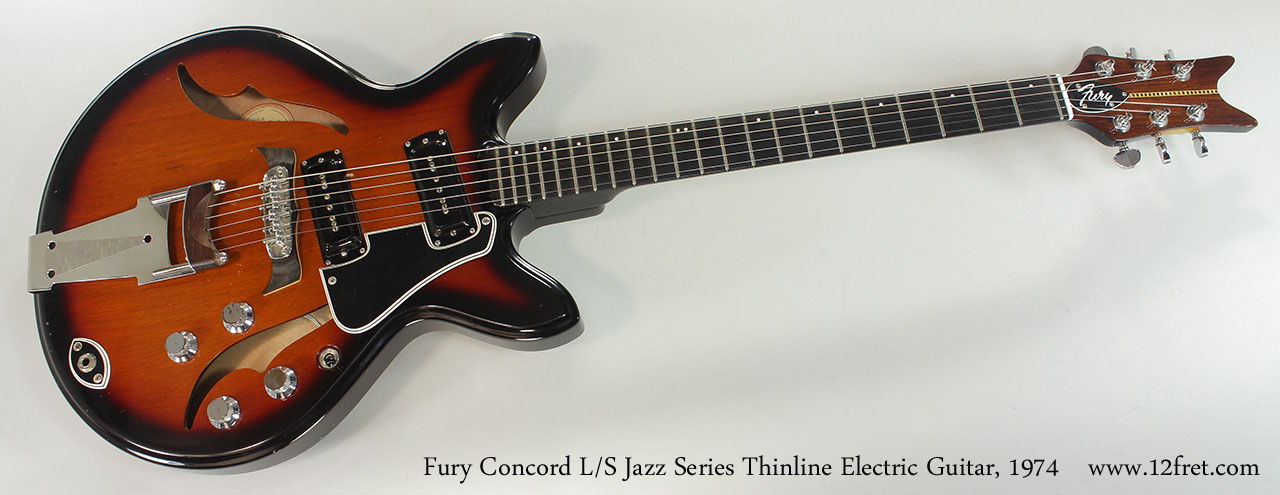 Fury Concord L/S Jazz Series Thinline Electric Guitar, 1974 Full Front View