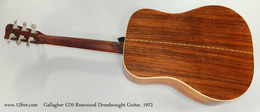 Gallagher G70 Rosewood Dreadnought Guitar, 1972 Full Rear View