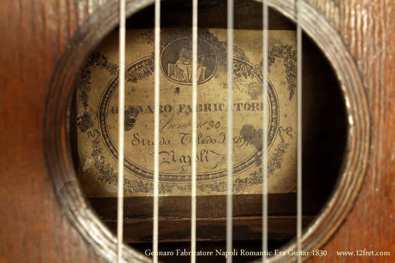 Gennaro Fabricatore Napoli Romantic Era Guitar 1830 label