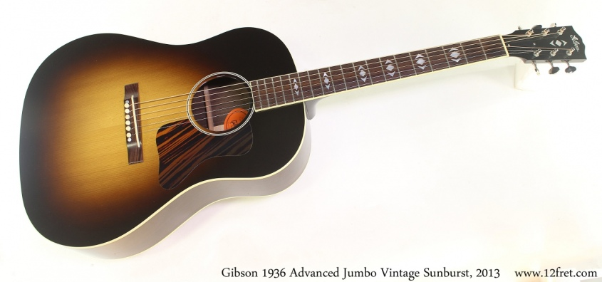 Gibson 1936 Advanced Jumbo Vintage Sunburst, 2013 Full Front View