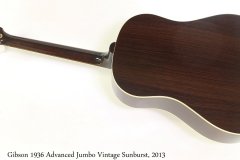 Gibson 1936 Advanced Jumbo Vintage Sunburst, 2013 Full Rear View