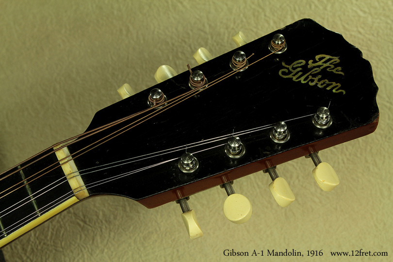 Gibson A-1 Mandolin, 1916 head front view