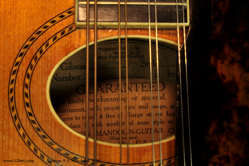Gibson A-1 Mandolin, 1916 label
