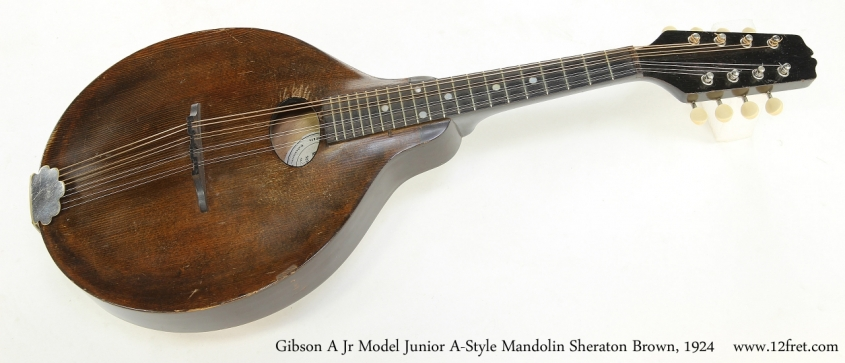 Gibson A Jr Model Junior A-Style Mandolin Sheraton Brown, 1924   Full Front View