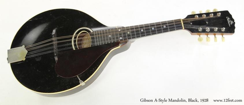 Gibson A-Style Mandolin, Black, 1928  Full Rear View