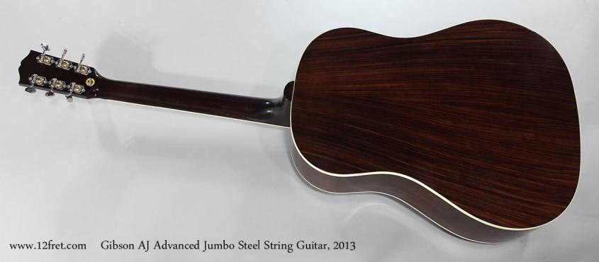 Gibson AJ Advanced Jumbo Steel String Guitar, 2013 Full Rear View