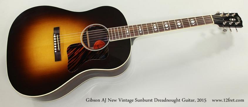 Gibson AJ New Vintage Sunburst Dreadnought Guitar, 2015 Full Front View