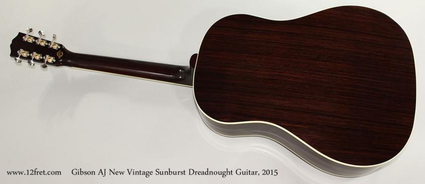Gibson AJ New Vintage Sunburst Dreadnought Guitar, 2015 Full Rear View