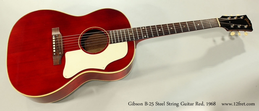 Gibson B-25 Steel String Guitar Red, 1968 Full Front View