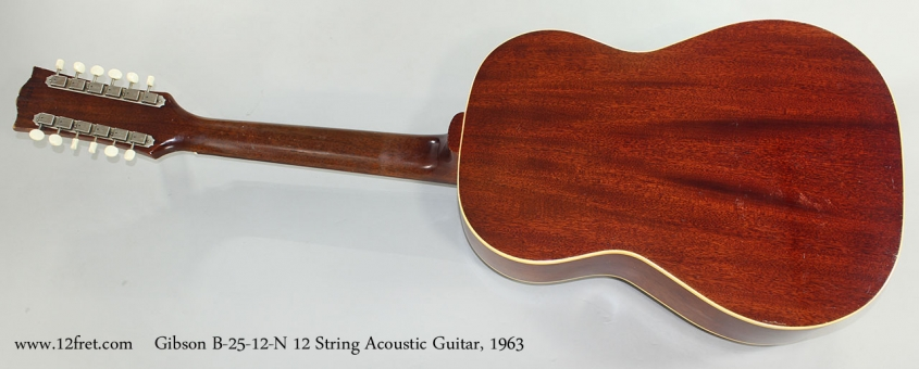 Gibson B-25-12-N 12 String Acoustic Guitar, 1963 Full Rear View