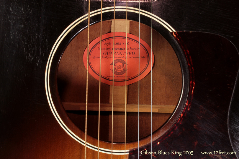 Gibson Blues King 2005 label
