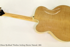Gibson Byrdland Thinline Archtop Electric Natural, 1991  Full Rear View