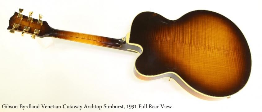 Gibson Byrdland Venetian Cutaway Archtop Sunburst, 1991 Full Rear View