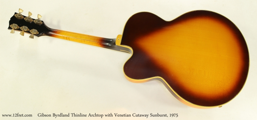 Gibson Byrdland Thinline Archtop with Venetian Cutaway Sunburst, 1975  Full Rear VIew