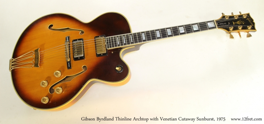 Gibson Byrdland Thinline Archtop with Venetian Cutaway Sunburst, 1975 Full Front View