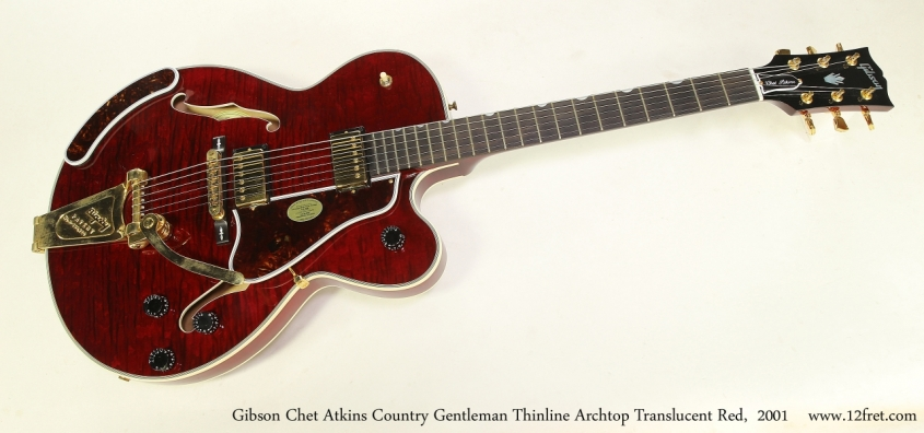 Gibson Chet Atkins Country Gentleman Thinline Archtop Translucent Red,  2001  Full Front View