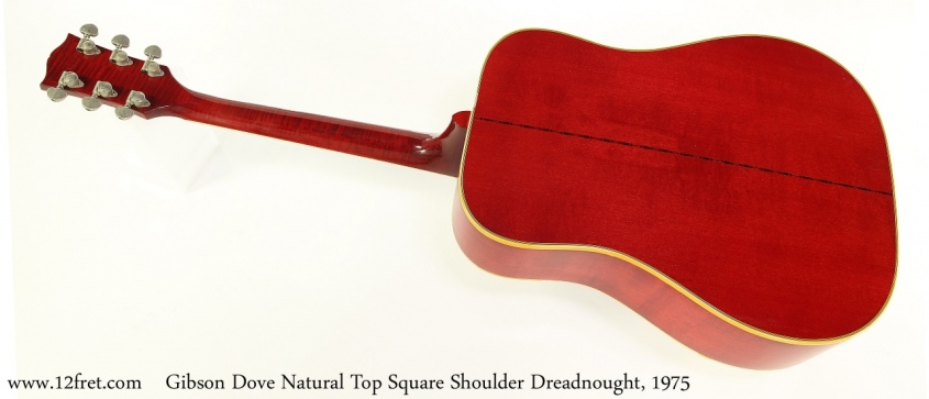 Gibson Dove Natural Top Square Shoulder Dreadnought, 1975 Full Rear View