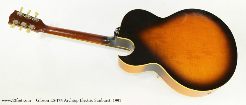 Gibson ES-175 Archtop Electric Sunburst, 1991  Full Rear View