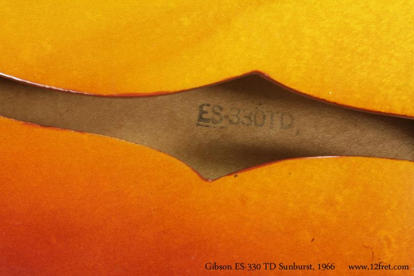 Gibson ES-330TD Sunburst 1966 label