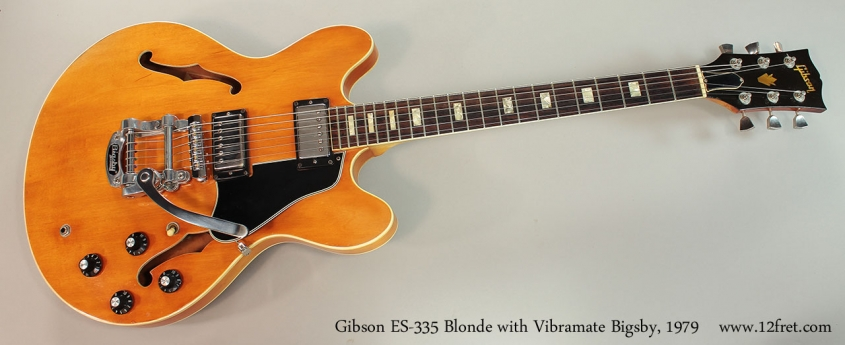 Gibson ES-335 Blonde with Vibramate Bigsby, 1979 Full Front VIew