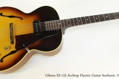 Gibson ES-125 Archtop Electric Guitar Sunburst, 1961   Full Front View