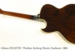 Gibson ES125TDC Thinline Archtop Electric Sunburst, 1969 Full Rear View