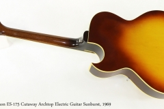 Gibson ES-175 Cutaway Archtop Electric Guitar Sunburst, 1969   Full Rear View