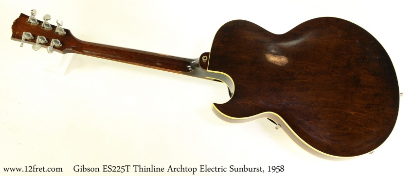Gibson ES225T Thinline Archtop Electric Sunburst, 1958 Full Rear View