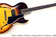 Gibson ES225T Thinline Archtop Electric Sunburst, 1958 Full Front View