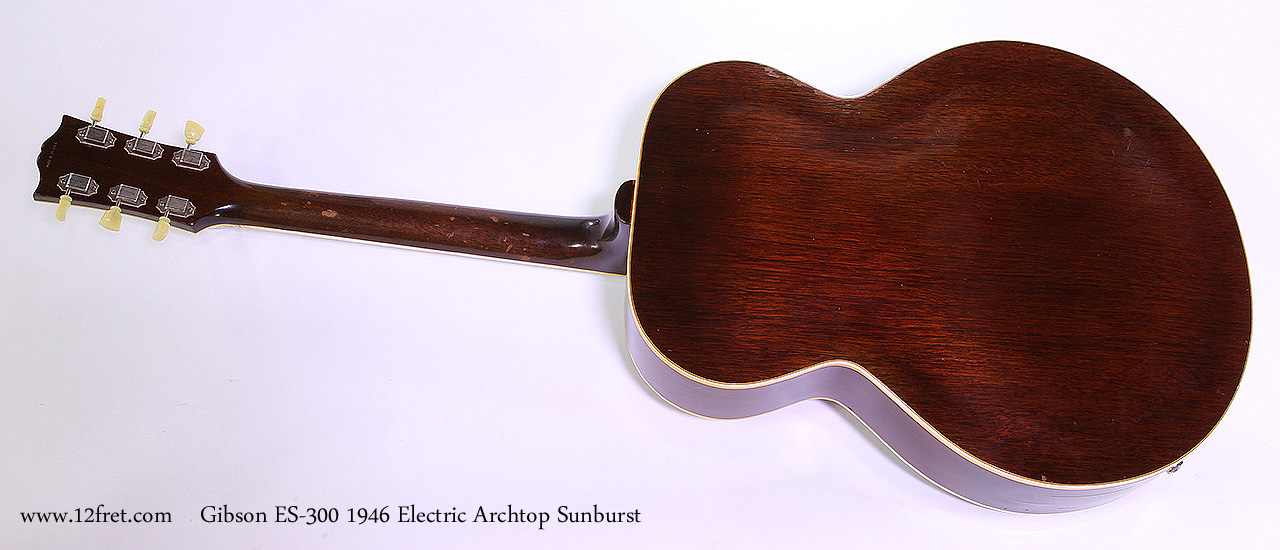 Gibson ES-300 1946 Electric Archtop Sunburst Full Rear View